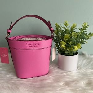 NWT Kate Spade Monotone Pink Peony Bucket Bag